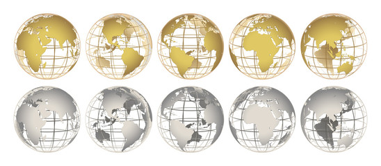 Fototapeta GOLD and SILVER globes