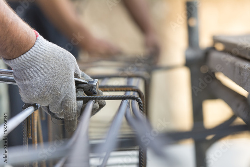 Construction site workers Canvas Print