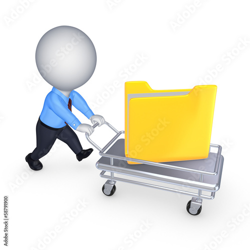 Fotografía  3d small person with yellow folder on pushcart.