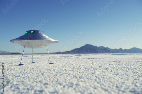 Foto op Canvas UFO Silver Metal Flying Saucer UFO White Desert Planet Landscape