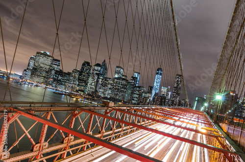 Deurstickers New York New York City - Manhattan Skyline from Brooklyn Bridge by Night