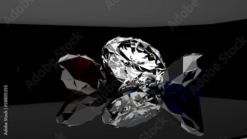 Fotografie, Obraz  Trio Rubis Diamant Saphir - Fond Noir