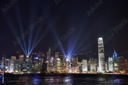 Foto auf AluDibond Stadt am Wasser Night view on Hong Kong island