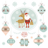 Christmas illustration, Santa Claus and Deer, hanging toys