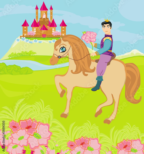 Montage in der Fensternische Pony Prince riding a horse to the princess