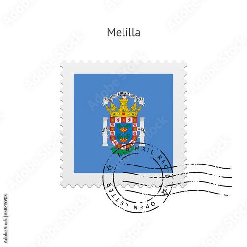 Melilla Flag Postage Stamp.