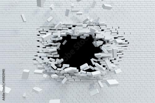 Fotografie, Obraz  breaking brick wall