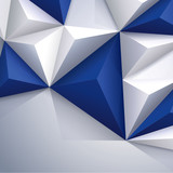 Blue and white geometric background.