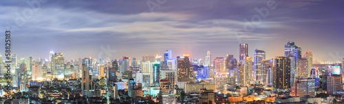 Aluminium Prints Bangkok Bangkok downtown Skyline Panorama