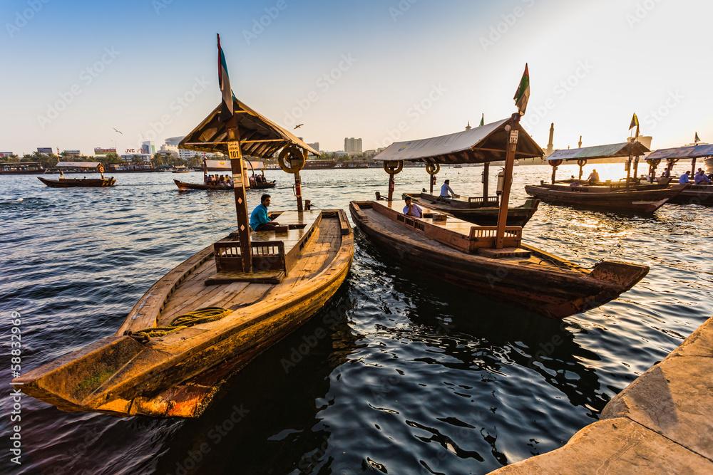 Fototapeta  Boats on the Bay Creek in Dubai, UAE