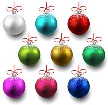 Set Of Realistic Christmas Bal...