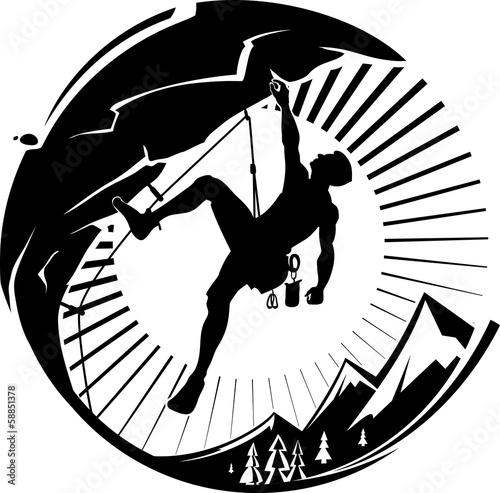wspinacz-na-zachod-slonca-ilustracji-wektorowych
