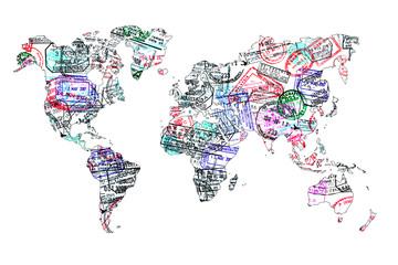Fototapeta Carte du monde tampons de passeport, isolé
