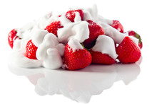 Strawberry With Cream On White Reflexive Background
