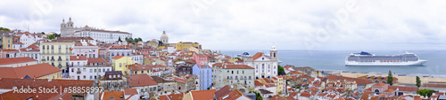 Panorama from Lisbon houses and harbor in Portugal