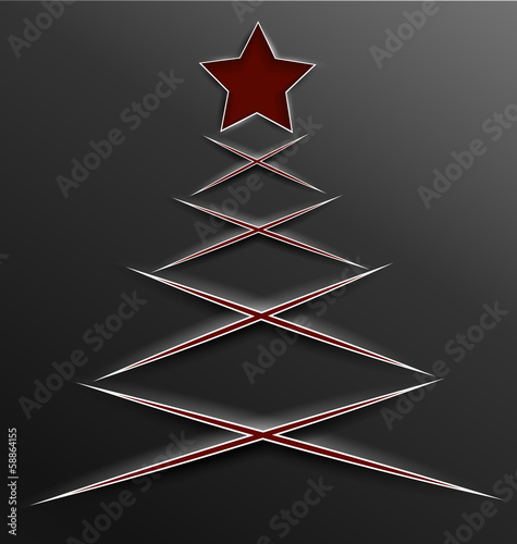 Photo  Christmas tree paper cut lines cross