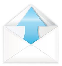 White Envelope Blue Arrow Out