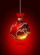 Christmas Glass Ball With Worl...