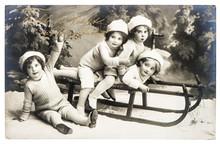 Old Photo Of Kids With Sledge. Vintage Christmas Postcard