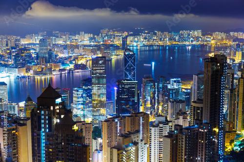 Foto op Aluminium Toronto Hong Kong skyline from Peak at mid night
