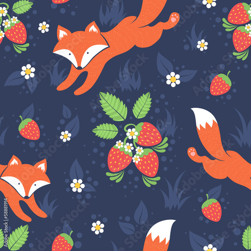 Cotton fabric Foxes and wild strawberries seamless pattern