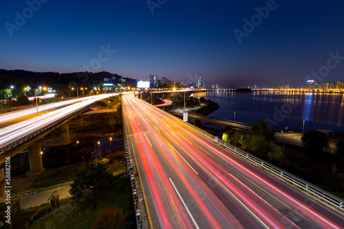 Busy traffic in Seoul city Poster