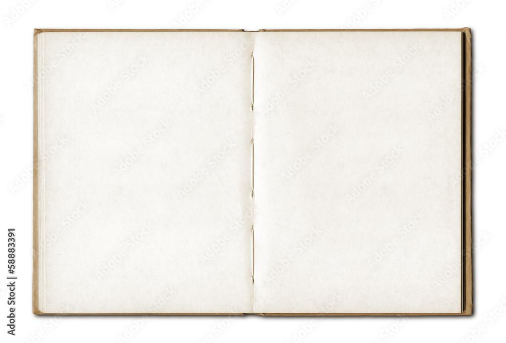 Fototapeta Vintage blank open notebook