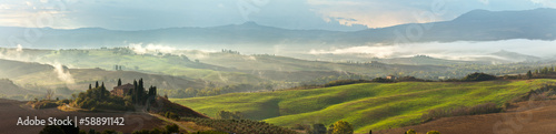 Poster Toscane Val d'Orcia on a misty morning. Tuscany. Italy. Panorama