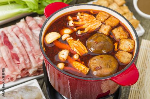 Fotografie, Obraz  Szechuan Hot Pot - Spicy Chinese hot pot meal.
