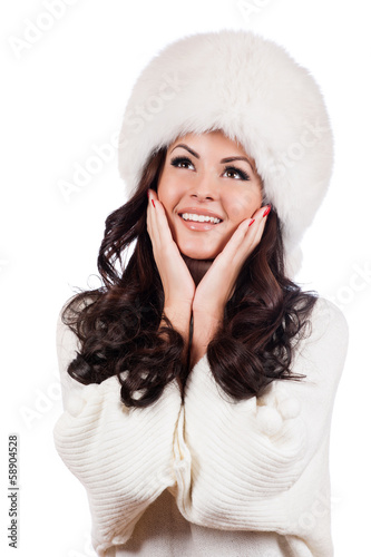Beautiful Girl In Fur Hat Winter Woman Portrait Buy This