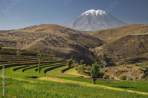 Inca's garden and active volcano Misti, Arequipa, Peru.