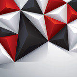 Black, red and white geometric background.