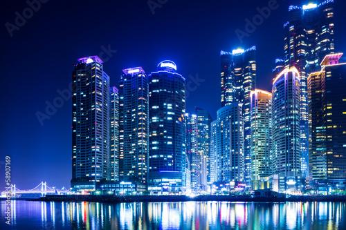 Photo Stands Shanghai Busan city at night