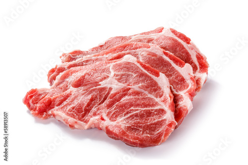 Papiers peints Steakhouse Fresh raw pork on white background