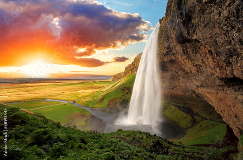 Printed bathroom splashbacks Waterfalls Waterfall, Iceland - Seljalandsfoss