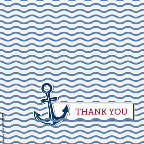 Fototapeta Thank you greeting card with anchor obraz