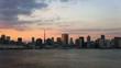 きれいな夕焼けの東京湾と港区高層ビル群と東京タワー インターバル撮影