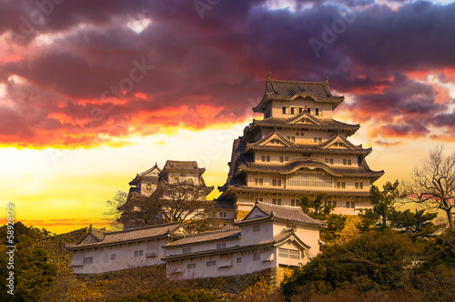 Photo Stands Japan Majestic Castle of Himeji in Japan.