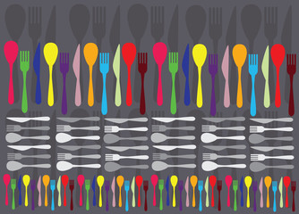 Fototapeta Do restauracji spoons, forks and knifes creating colorful vector background
