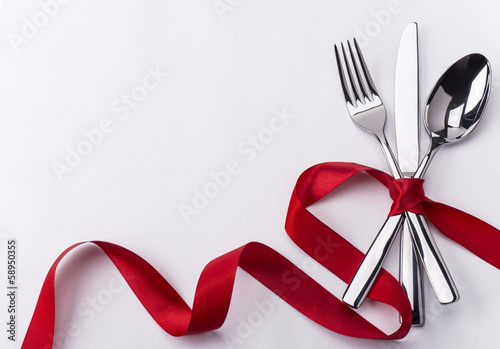 Staande foto Restaurant Silverware set for Valentines day