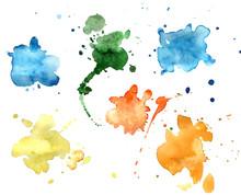 Vector Watercolor Sprayed Blots