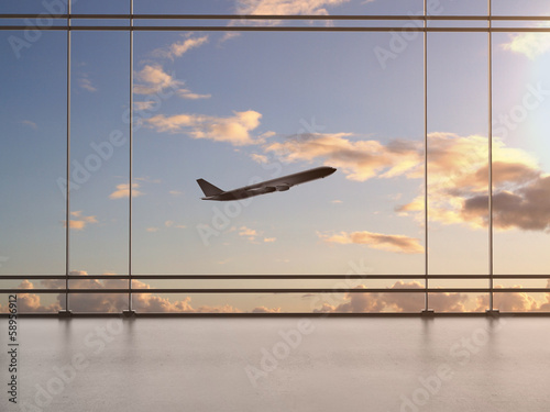 In de dag Luchthaven airport with window