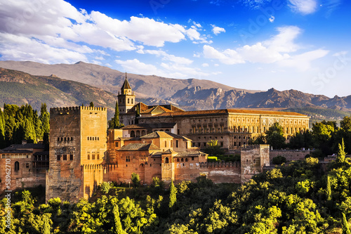 Ancient arabic fortress of Alhambra, Granada, Spain. Wallpaper Mural