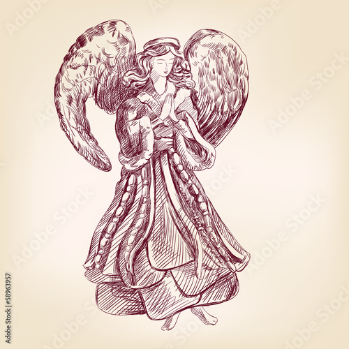 angel hand drawn vector llustration realistic sketch Fototapete