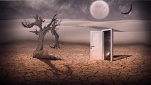 Open Doorway Show A Somehow Semitransparent Space Scene In Stran