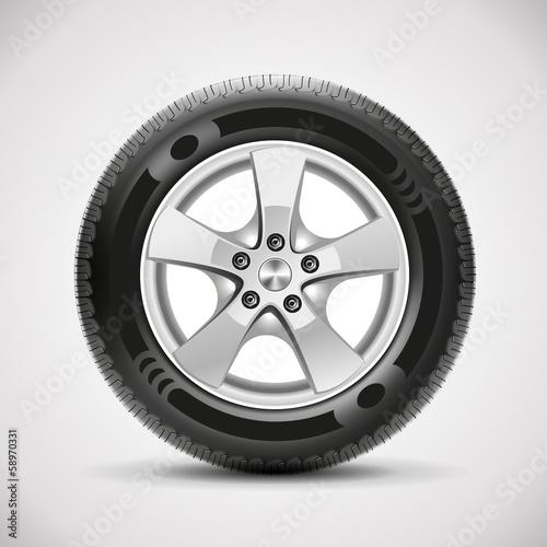Fotografiet  car tire, vector