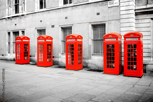 red phone boxes London Poster