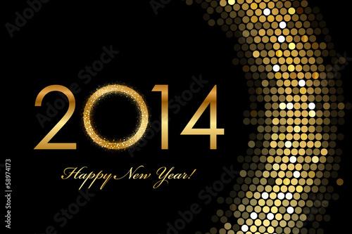 Fotografía  Vector - 2014 Happy New Year 2014 golden glowing