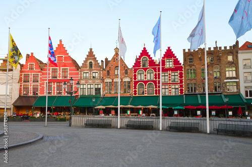Wall Murals Bridges Medieval buildings on the Market Square, Bruges
