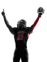 American Football Player  Portrait Celebrating Touchdown Silhoue